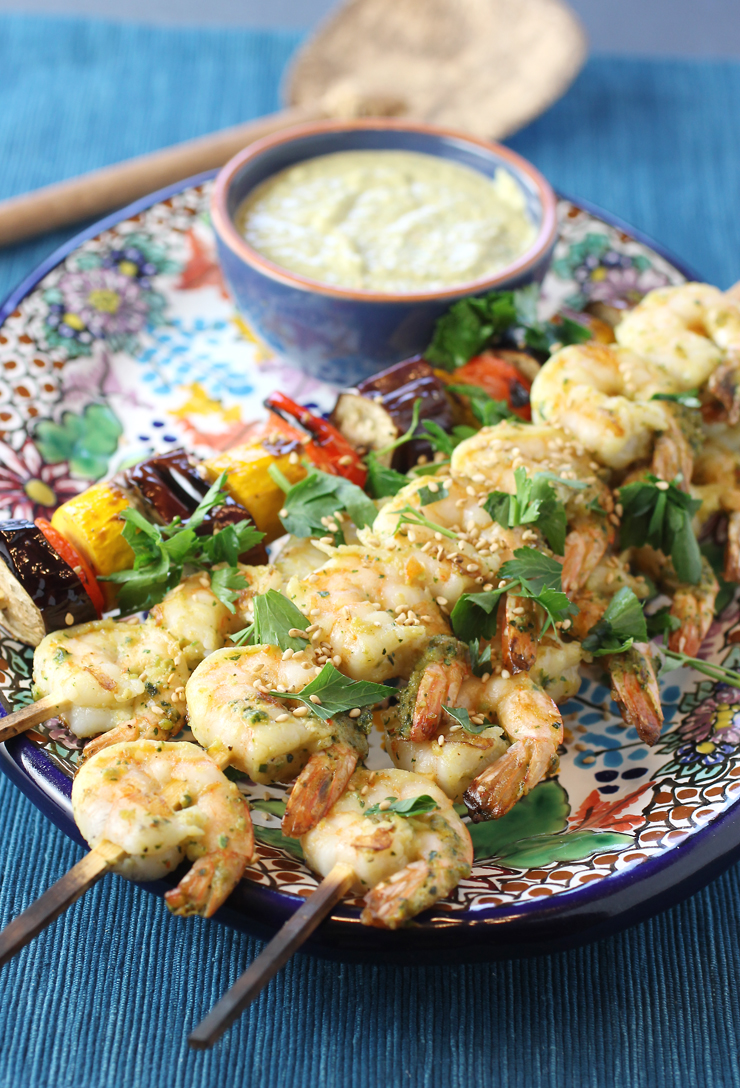 Tahini helps marinade the shrimp and creates the foundation for the dipping sauce.