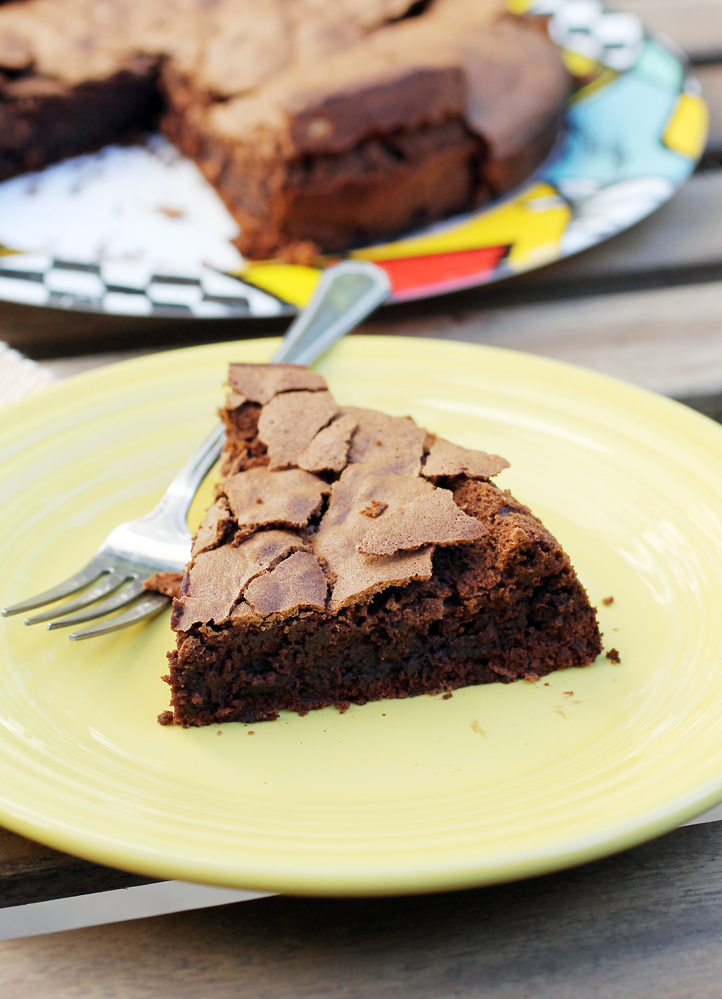 Like a giant brownie -- but with the added richness of olive oil.