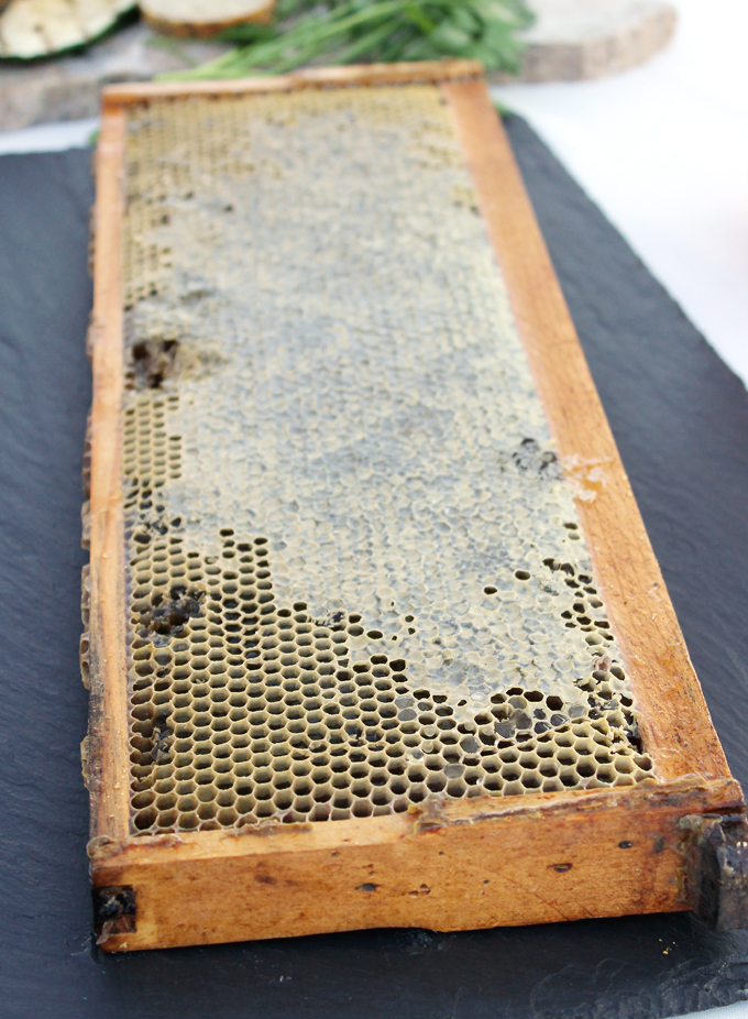 Honey and honeycomb from the bee hives on site.
