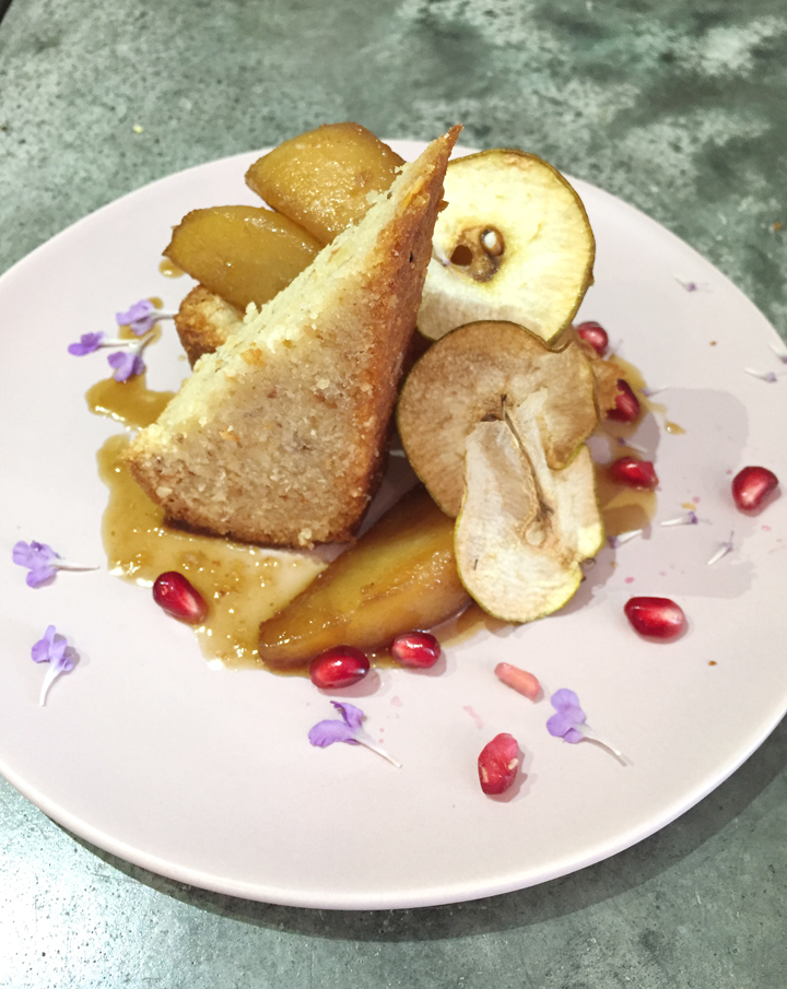 Vegan hazelnut cake with pear compote by Oakland's Millennium restaurant, which will be featured in the book.