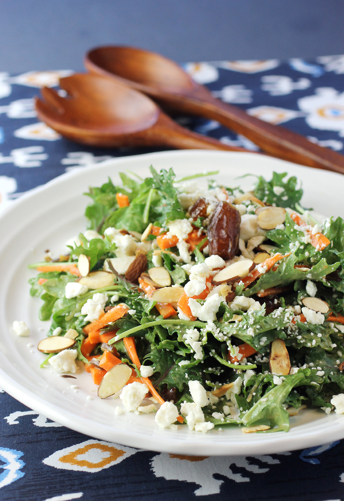 With a mix of dates, almonds, feta and carrots, this kale salad hits all the high notes.