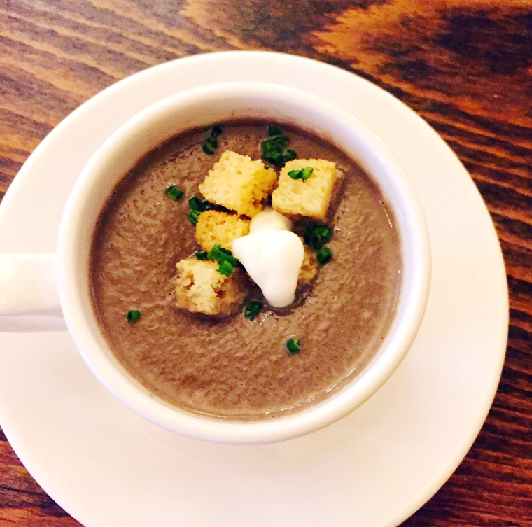 Peter Armellino's mushroom soup garnished with croutons.