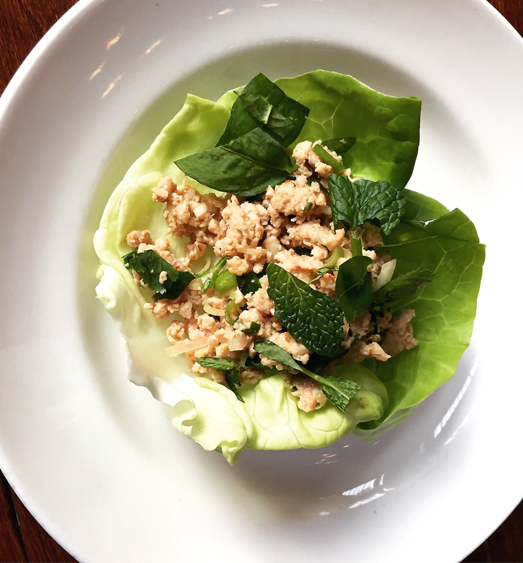 Laotian minced chicken salad.