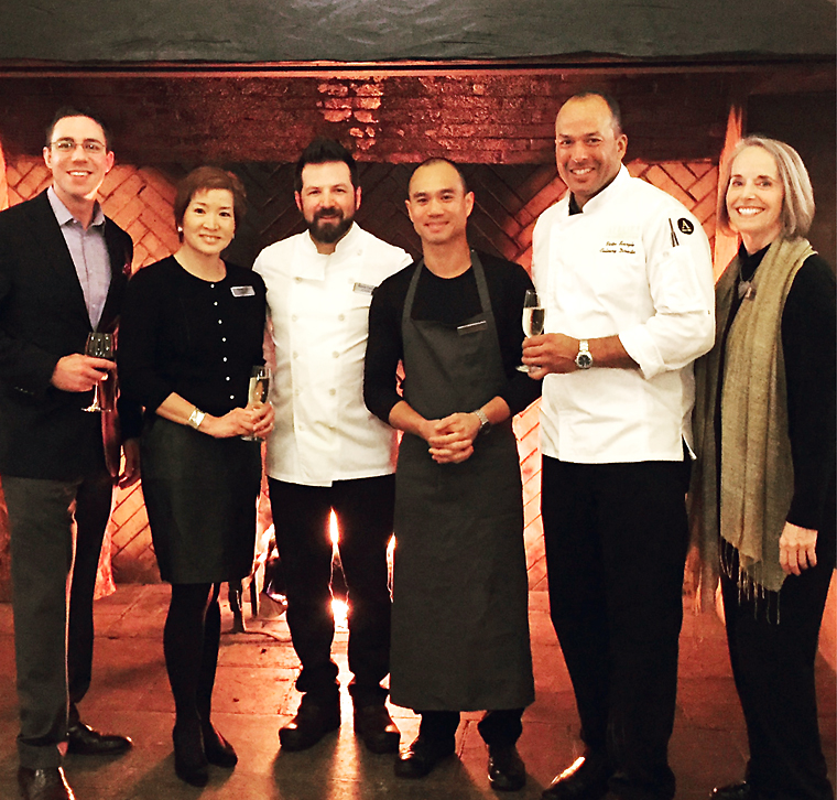 Yours truly with chefs Nicolai Lipscomb, James Syhabout, and Victor Scargle with Yosemite staff members.