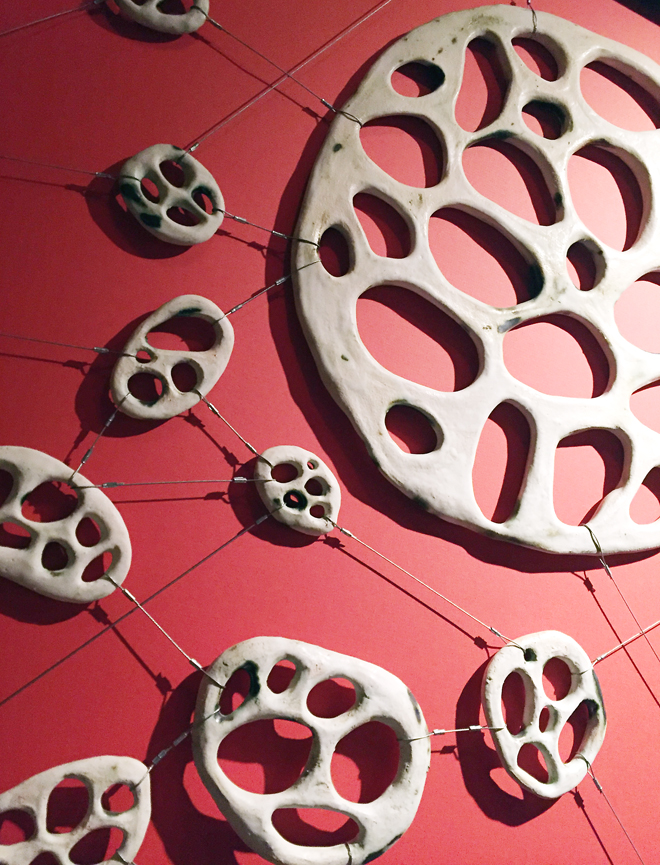Art fashioned from ceramic and steel cables by Santa Cruz artist Jenni Ward.