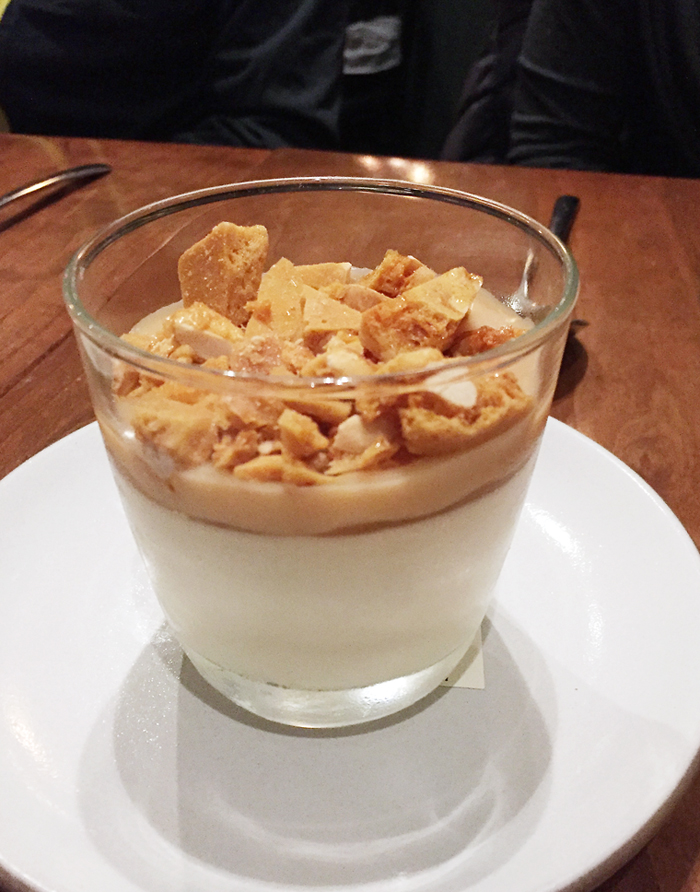 Salted peanut brittle covers this banana mousse.