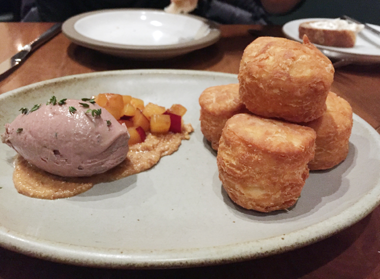 Get to know fried biscuits with chicken and duck liver mousse at The Wolf.