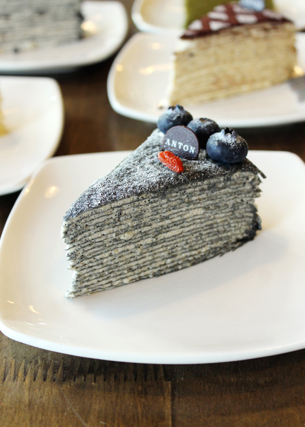 Behold the black sesame crepe cake by Anton SV Patisserie.