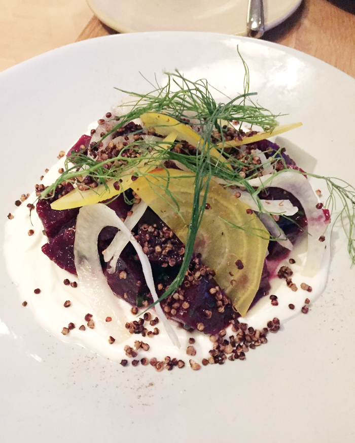 Beet salad with puffed quinoa. (Photo by Carolyn Jung)