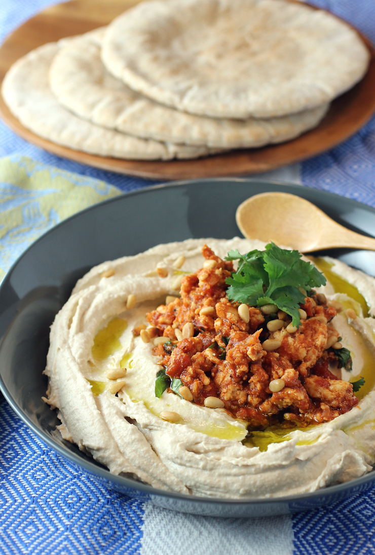 Five-minute hummus with cinnamon-scented chicken.