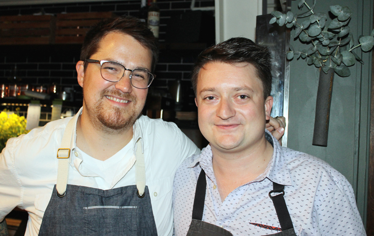 Chef Marc Zimmerman of the forthcoming Gozu (left) and Chef Rodney Wages of Avery (right).
