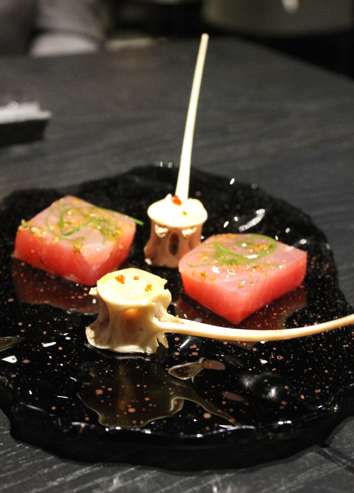 Wrap our heads around this: yellowfin bone marrow. At the Gozu pop-up at Avery restaurant.