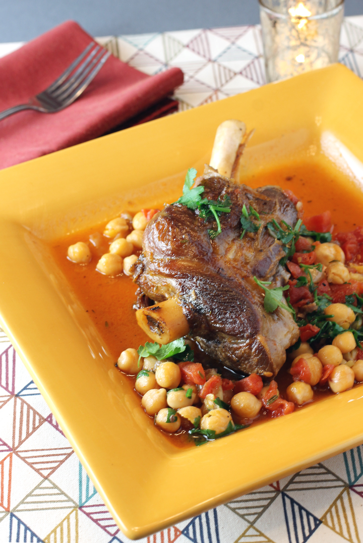 Big, meaty lamb shanks braised with nutty chickpeas.