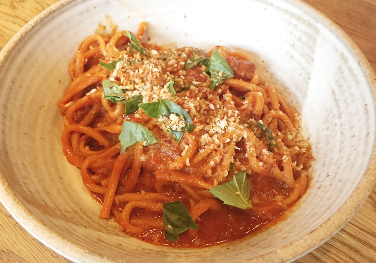 Twirl a fork into this spicy bucatini.