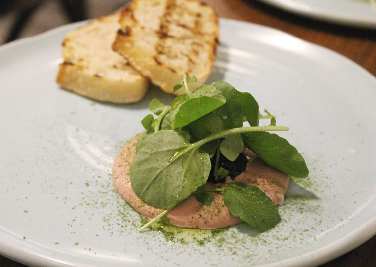 Grilled bread and chicken liver mousse.