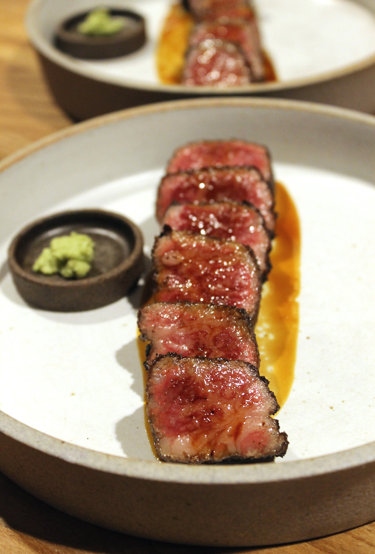A 4-ounce serving of Japanese A5 Wagyu tri-tip at Niku Steakhouse.