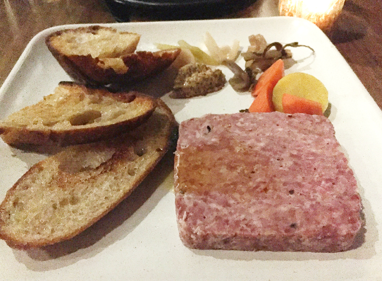 Rustic pork terrine.