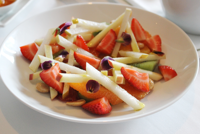 Fresh fruit with Marcona almonds.