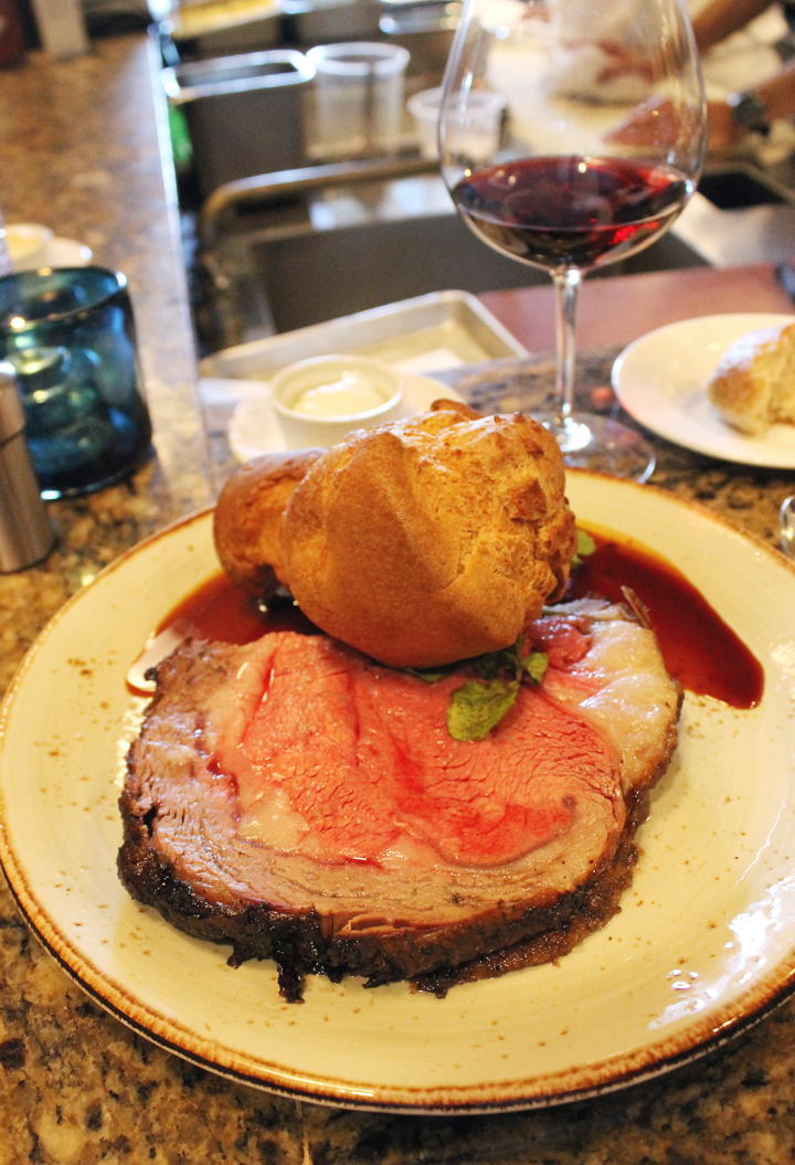 Prime rib with all the fixings along with a nice glass of red wine at One Market.