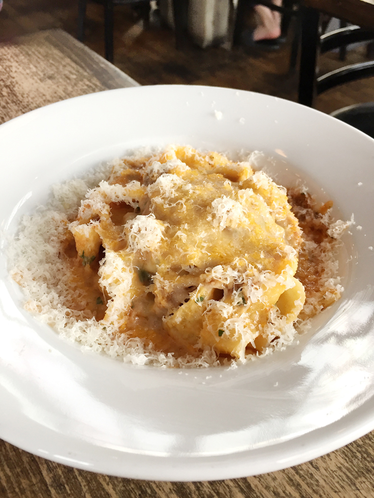 Wide ribbons of pasta enrobed in a pork-lamb ragu at East End.