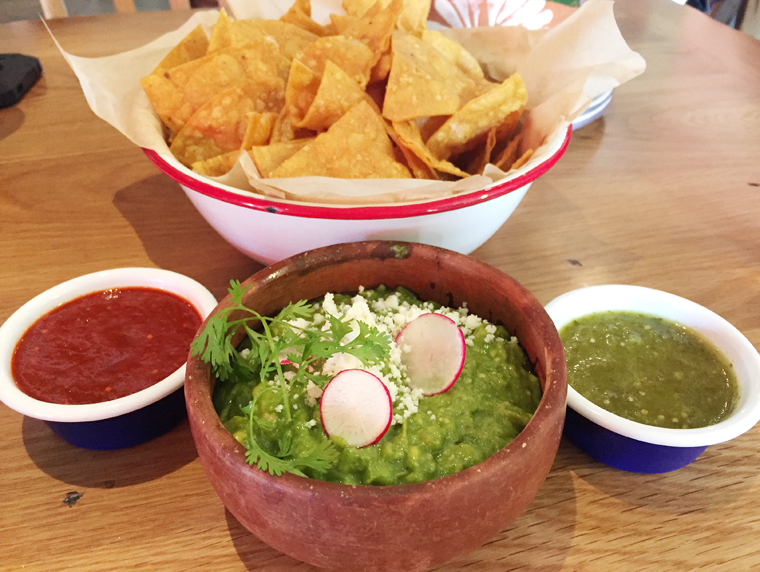 Chips, salsas and guacamole definitely worth ordering.