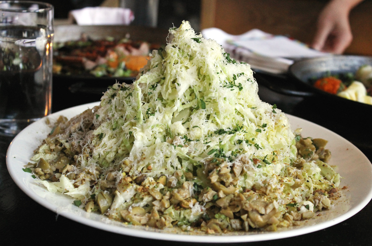 The cabbage slaw that hooks you from the first mouthful.