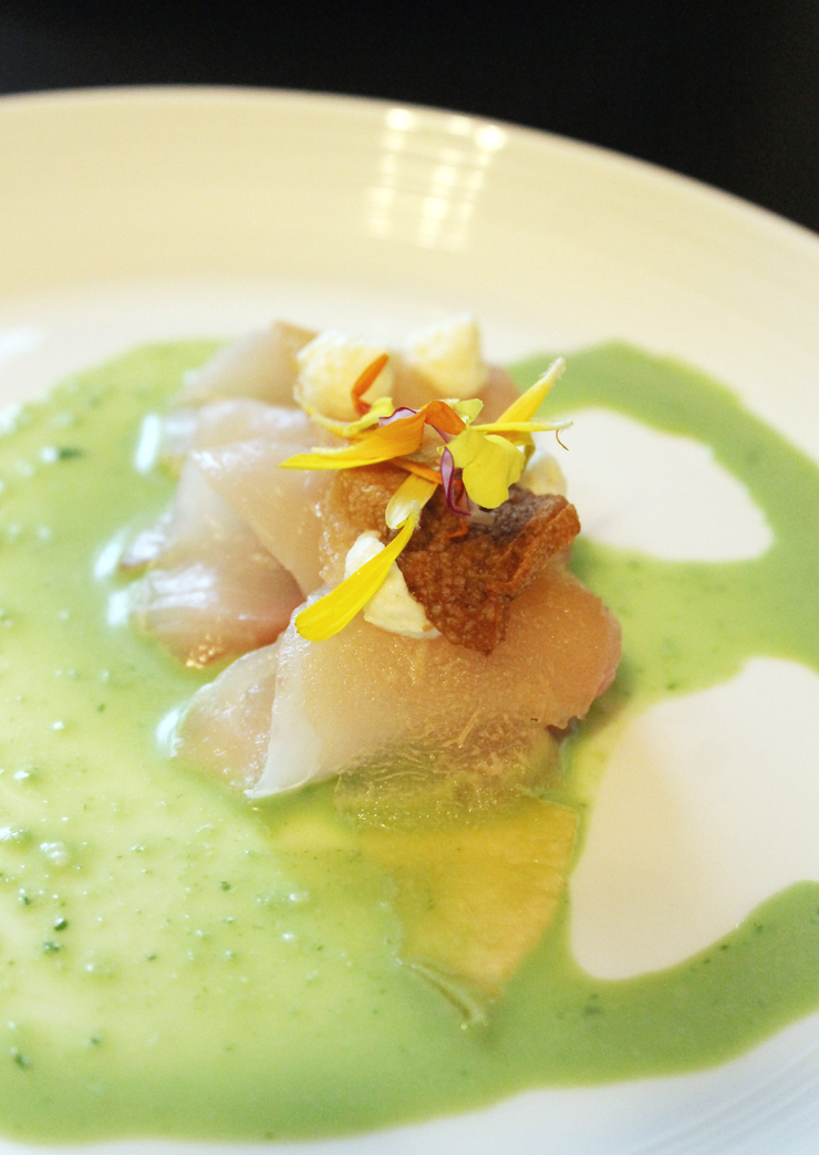 """Buttery tasting, raw hamachi served in the """"Kelp Forest'' dinner."""