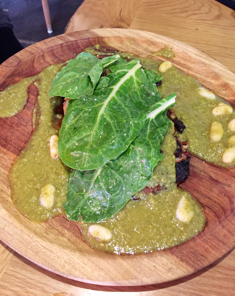 Pork jowl in mole verde at La Calenda.