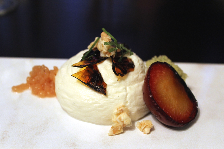 Shiso cake (hiding in the back right corner) and grilled fig leaf mousse.