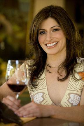 Lisa Rhorer enjoying Bethel Heights Estate Pinot Noir 2004 Willamette Valley. Photo by Dave Lipori