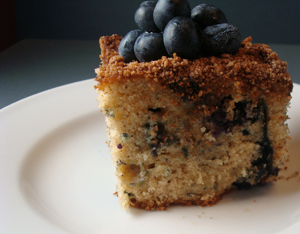 Treat yourself to warm, blueberry coffee cake