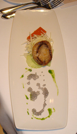Siegel's abalone with gazpacho terrine, basil puree, hearts of palm, and local cucumbers
