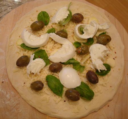 Pizza Bianco, pre-baking