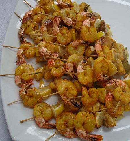 Shrimp and fish skewers