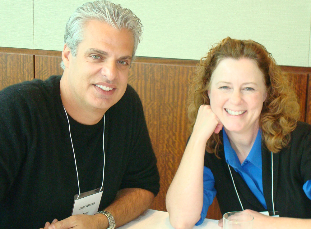New York Chef Eric Ripert and cookbook author Cindy Mushet complete their task of eating 26 different cookies.