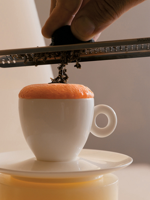 """Lobster Cappuccino. (Excerpted from """"On the Line'' by Eric Ripert. Nigel Parry and Melanie Dunea photographers.)"""