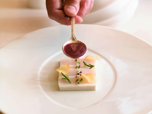 """Escolar Bernaise. (Excerpted from """"On the Line'' by Eric Ripert. Nigel Parry and Melanie Dunea photographers.)"""