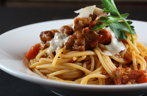A meaty bolognese cooks up with some surprising ingredients.