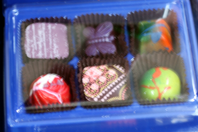 Fun colors from William Dean Chocolates of Florida.