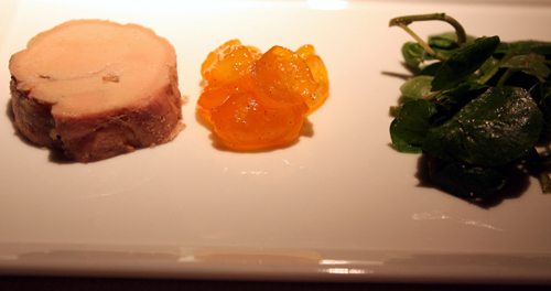 Foie gras with candied kumquat.