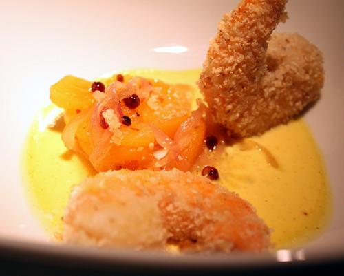 Crispy prawns with pineapple chutney.