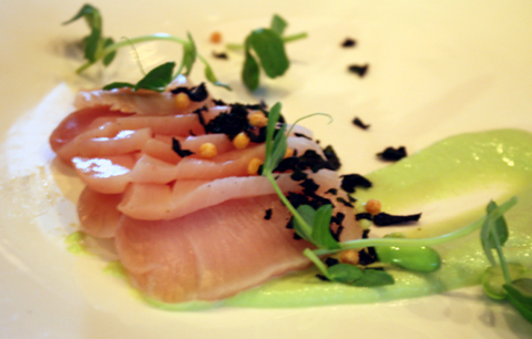 Hamachi with pea leaves, horseradish, and edamame