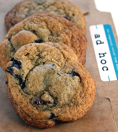 Just-baked chocolate chip cookes from the upcoming Ad Hoc cookbook