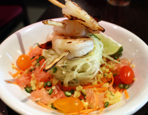 Papaya salad with sugarcane shrimp.