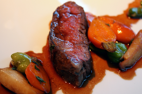 Tender beef with sweet carrots.