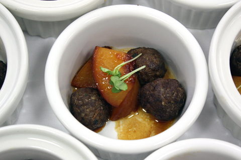 Meatballs with peaches.