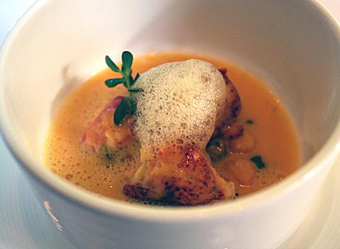 Melon soup with lobser.