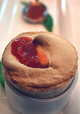 Warm strawberry souffle.