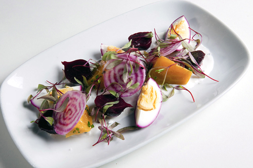 Beets with pickled egg salad at the Tavern at Lark Creek. (Photo courtesy of John A. Benson)