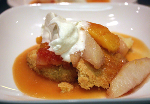 Summery plum and peach shortcake.